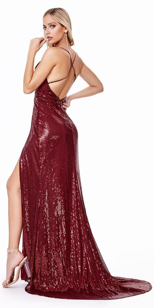 Cinderella Divine CD915 Long Fitted Sequin Dress Burgundy Double Slits Deep Plunging Neckline