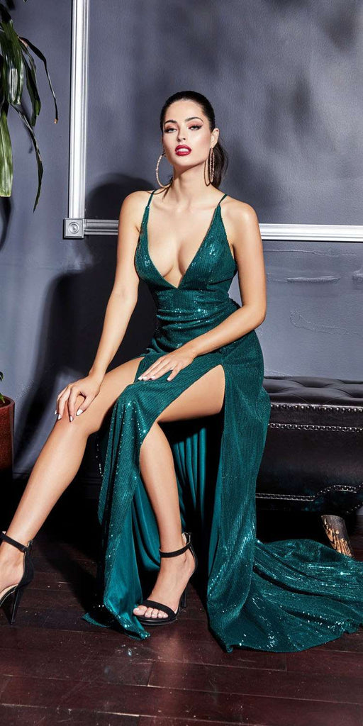 Double Slit Fitted Sequins Dress Emerald Green Plunging Neckline