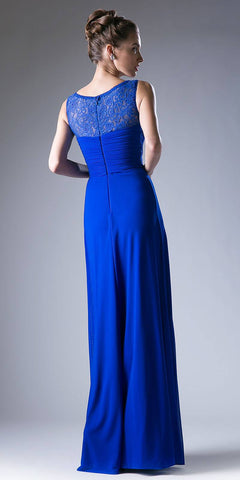 Lace Bodice Ruched Sleeveless Long Formal Dress Royal Blue