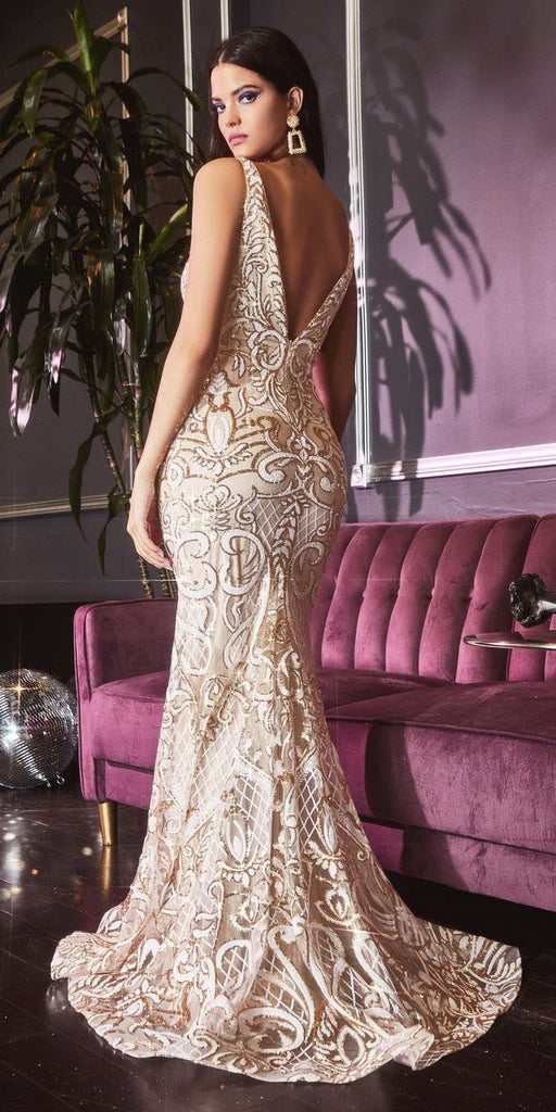 Fitted Mermaid Off White/Gold Gown Beaded Embellishment V-Neckline