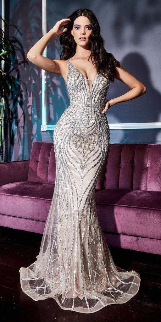 Fitted Mermaid Gown Geometric Silver Beaded Embellishment Tulle Overlay