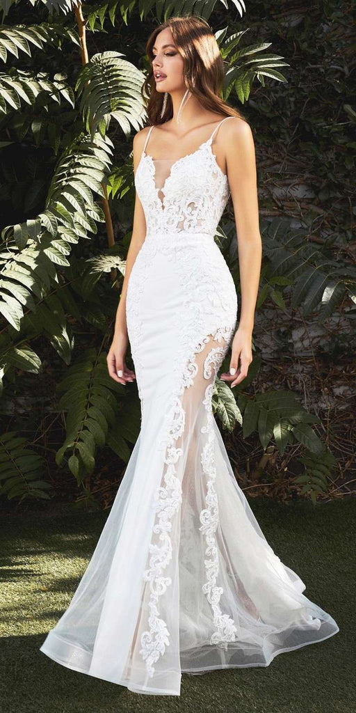 Cinderella Divine CD937 Sexy Off White Mermaid Wedding Gown Illusion Leg Sides Form Fitting
