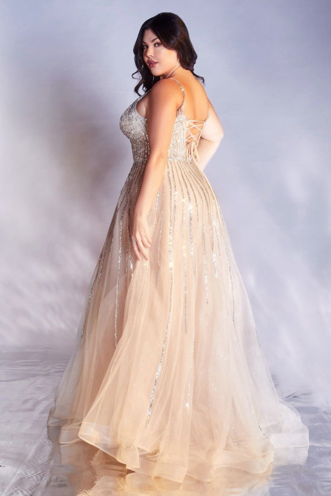 Cinderella Divine CD940 Plus Size Stunning Platinum A-Line Ball Gown Glitter Tulle Long V-back