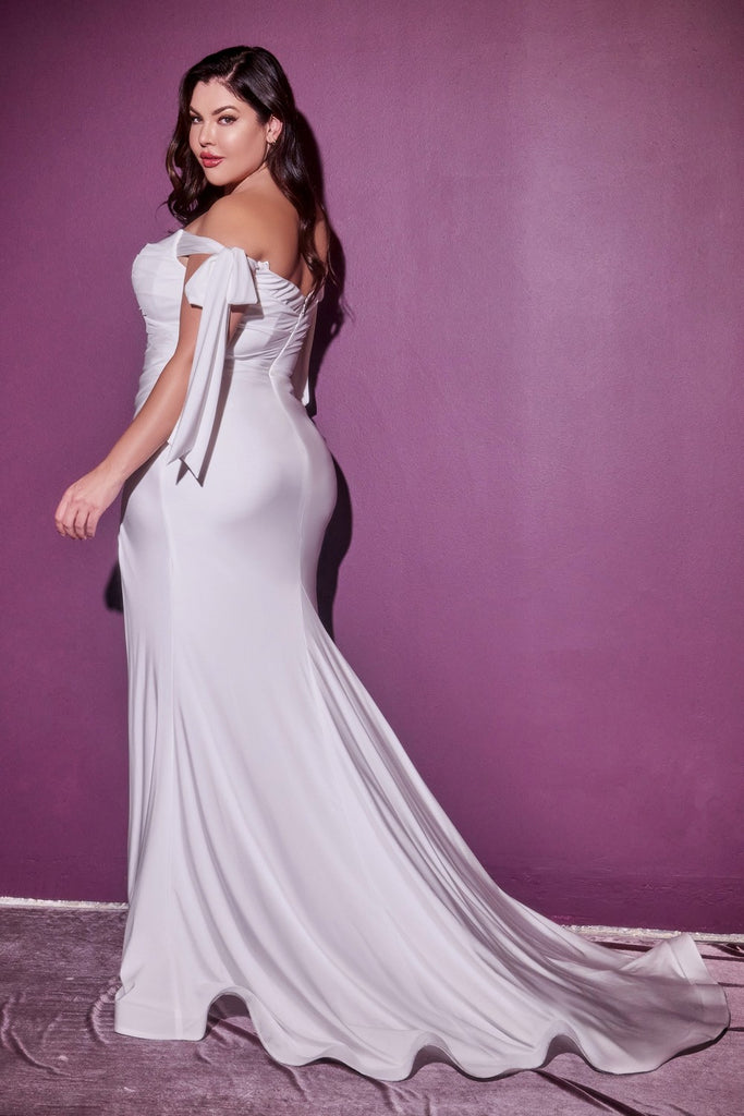 Cinderella Divine CD944 Plus Size Long Stretch Satin Off White Gown Off The Shoulder Adjustable Tie Sleeve Leg Slit