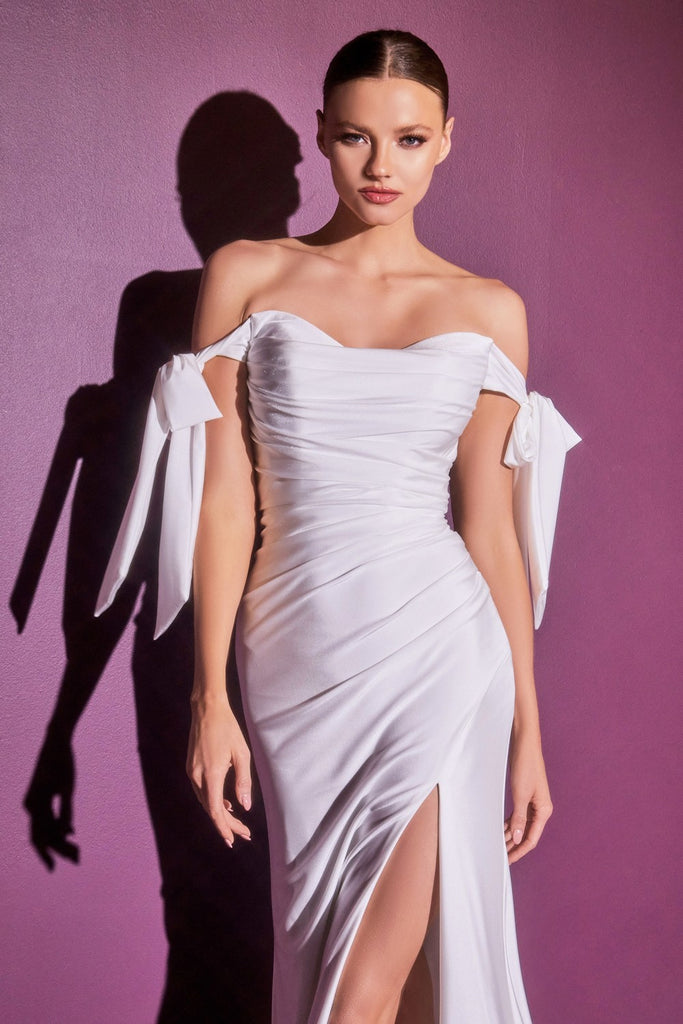 Cinderella Divine CD944 Long Stretch Satin Off White Gown Off The Shoulder Adjustable Tie Sleeve Leg Slit
