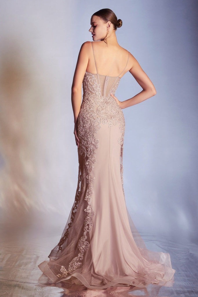 Cinderella Divine CD945 Long Embroidered Lace Sequins Dusty Rose Mermaid Gown Corset Bodice