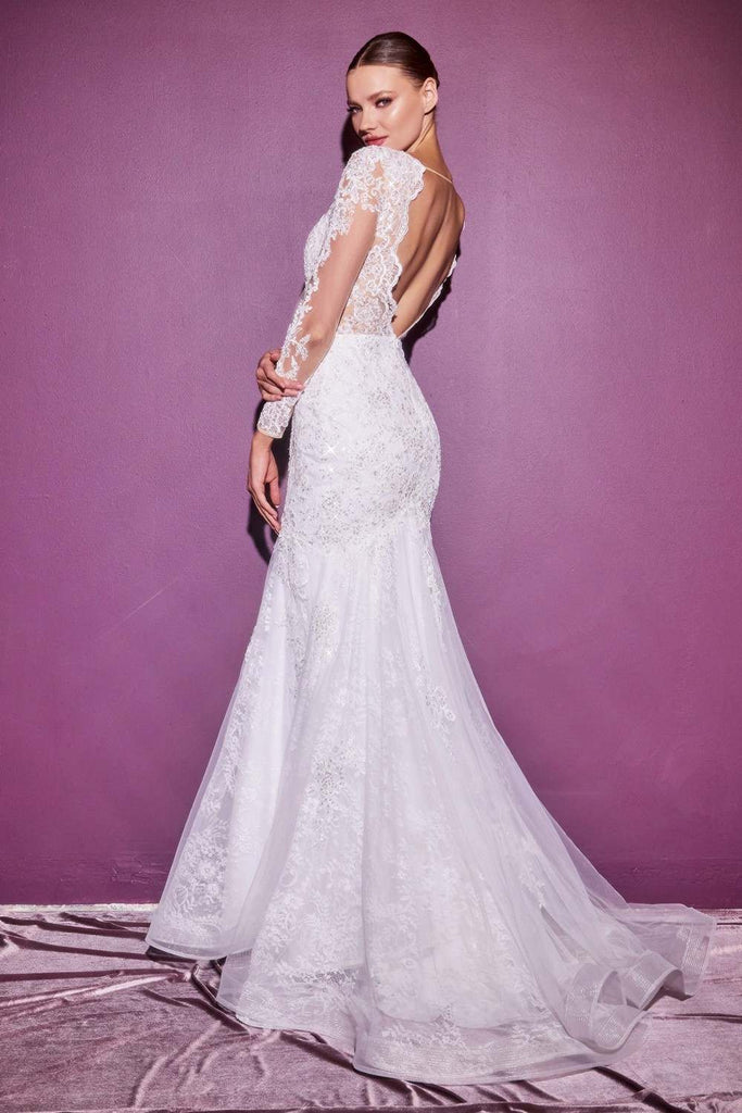 Cinderella Divine CD951 Off White Lace Mermaid Gown With Long Illusion Sleeves Open Back