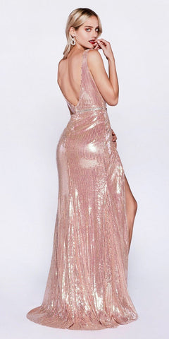 Rose Gold Sequins Mermaid Long Prom Dress with Slit