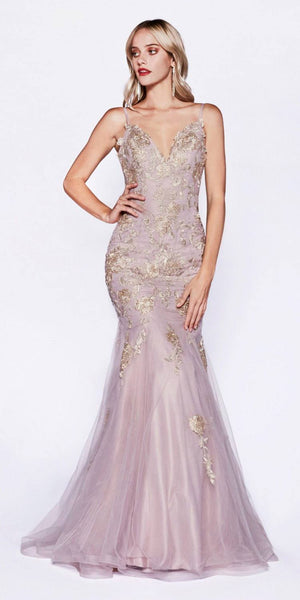 Appliqued Mermaid Style Long Prom Dress Mauve
