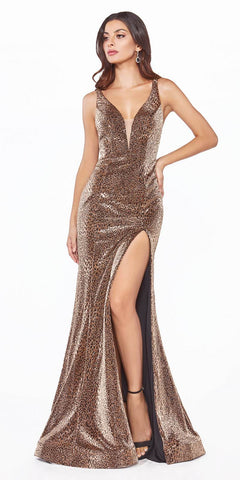 Cinderella Divine CDS322 Long Fitted Metallic Leopard Print Dress Deep Plunging Neckline Open Back