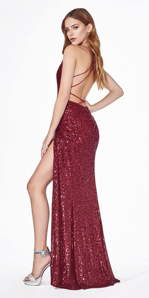 Burgundy Sequins Long Prom Dress Strappy-Back