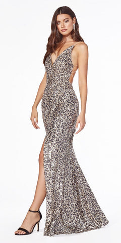 Silver/Gold Criss-Cross Back Long Prom Dress with Pockets