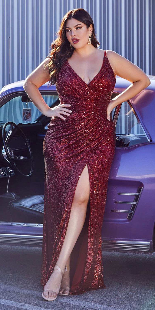 Cinderella Divine CDS345 Plus Size Burgundy Sequins Long Prom Dress Strappy-Back