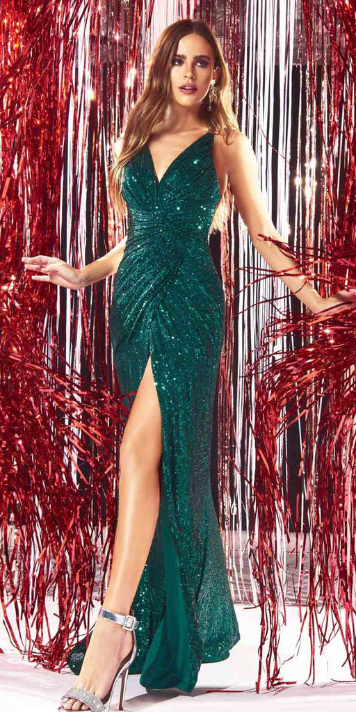 Cinderella Divine CDS345 Floor Length Sequins Formal Gown Emerald Green Front Slit