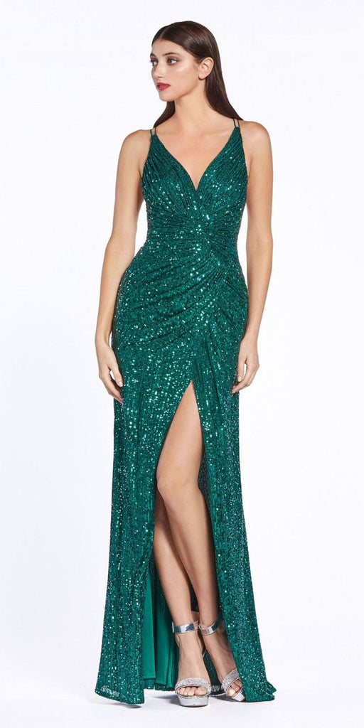 Emerald Green Sequins Long Prom Dress Strappy-Back