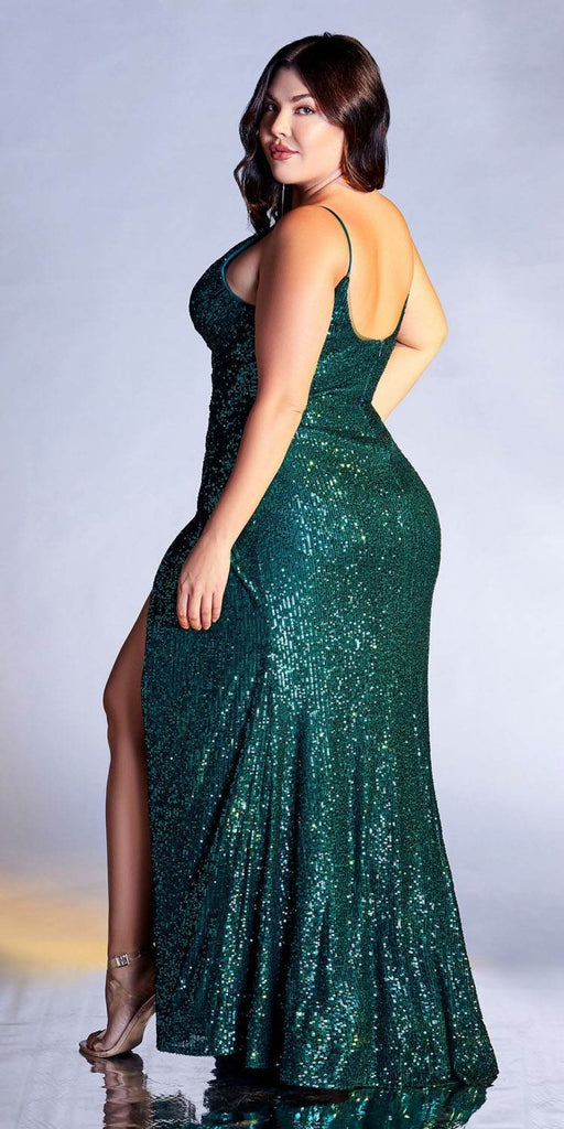 Cinderella Divine CDS345 Plus Size Emerald Sequins Long Prom Dress Strappy-Back
