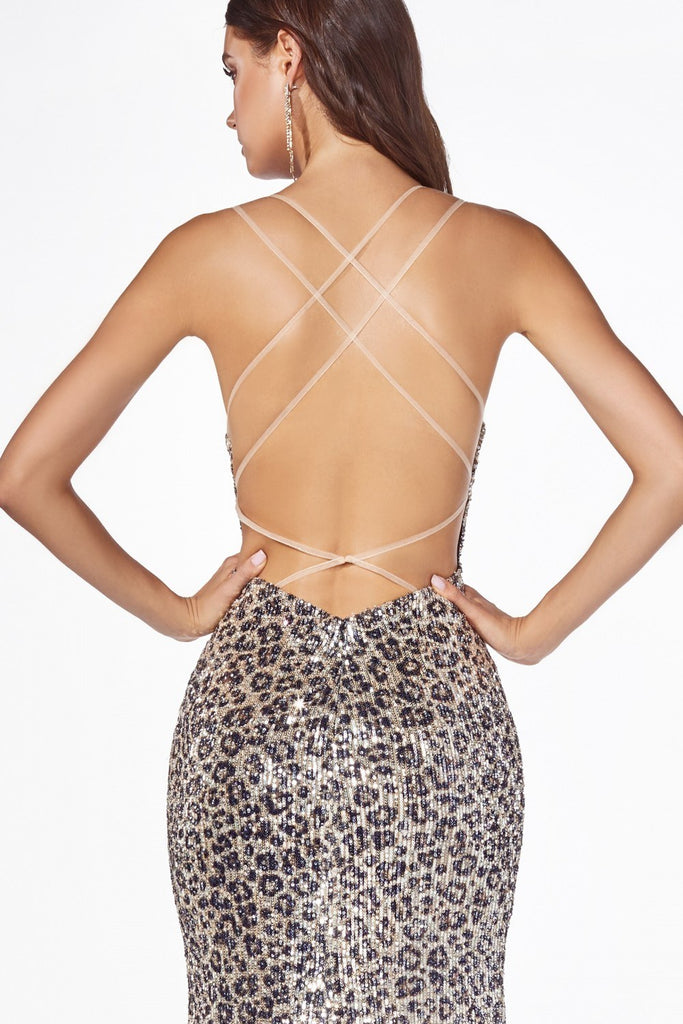 Leopard Print Sequins Long Prom Dress Strappy-Back