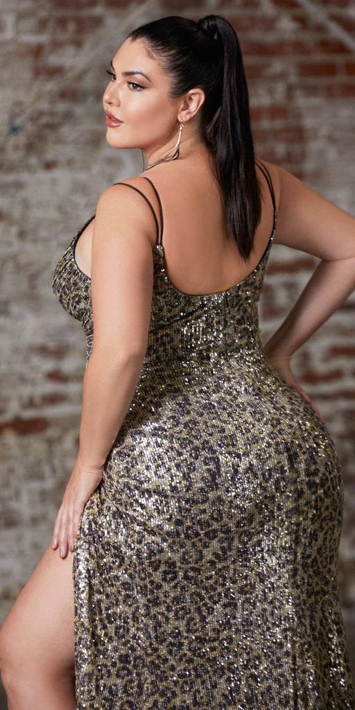 Cinderella Divine CDS345 Plus Size Leopard Print Sequins Long Prom Dress Strappy-Back