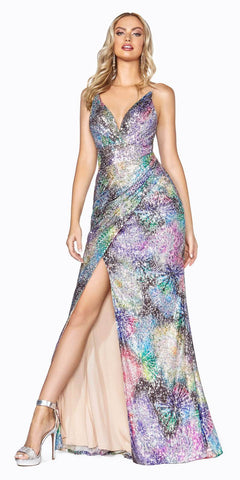 Cinderella Divine CDS346 Long Multi-Color Sequin Gown Fire Work Print Gathered Waistline