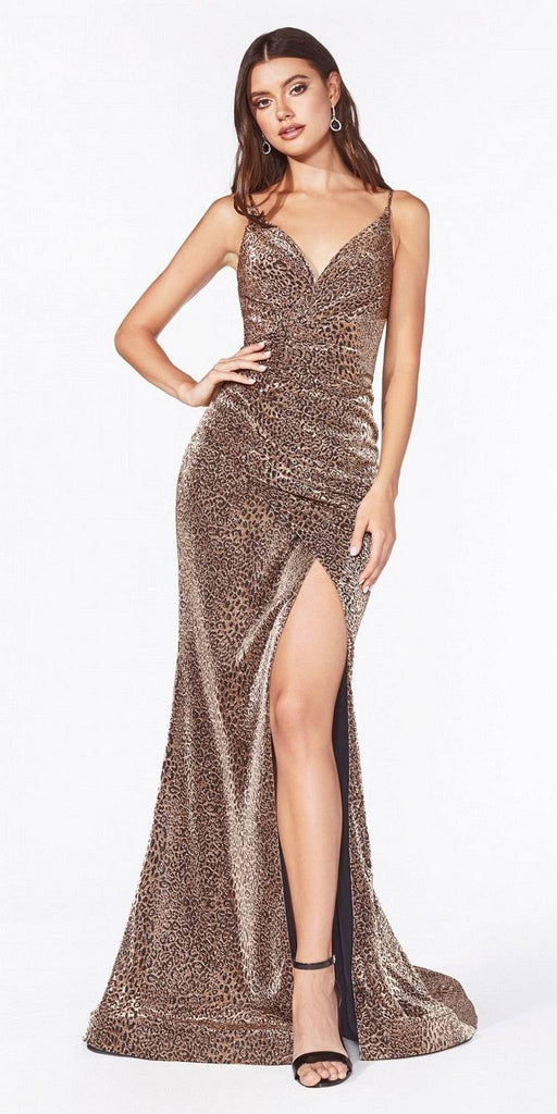 Cinderella Divine CDS347 Long Fitted Leopard Print Dress Gold Gathered Waistline Front Leg Slit