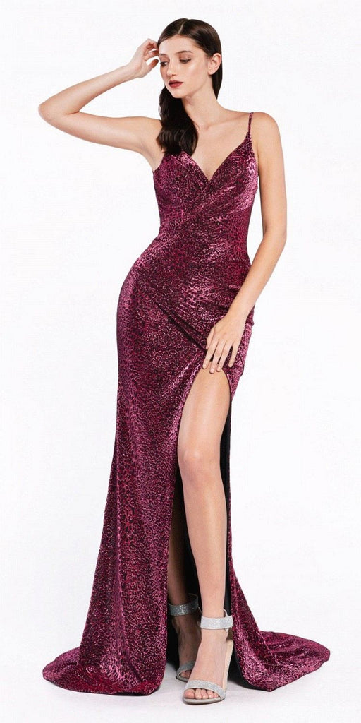 Cinderella Divine CDS347 Long Fitted Leopard Print Dress Lipstick Gathered Waistline Front Leg Slit