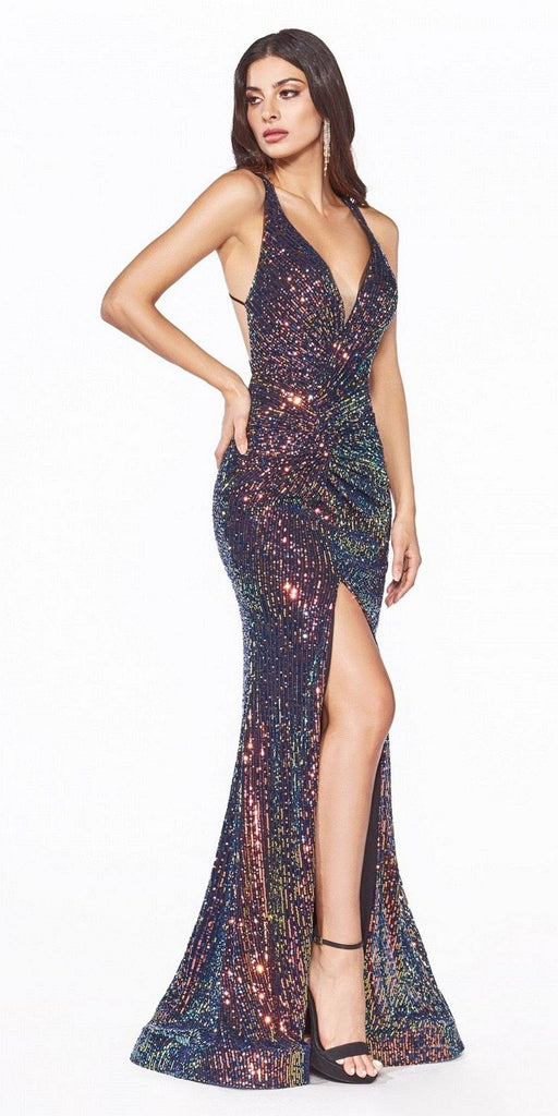 Cinderella Divine CDS369 Long Fitted Iridescent Sequin Gown Opal Black Criss-Cross Back Leg Slit.