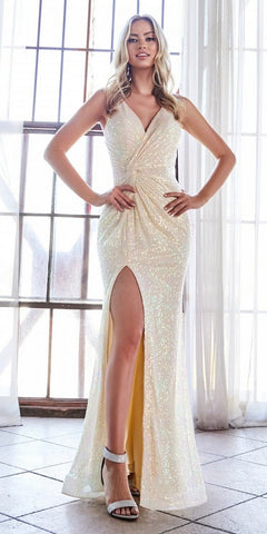 Cinderella Divine CDS369 Long Fitted Iridescent Sequin Gown Opal Champagne Criss-Cross Back Leg Slit.