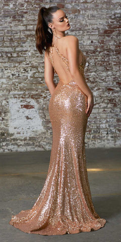 Cinderella Divine CDS372 Floor Length Slim Fit Gold Sequin Gown With Criss Cross Back Leg Slit