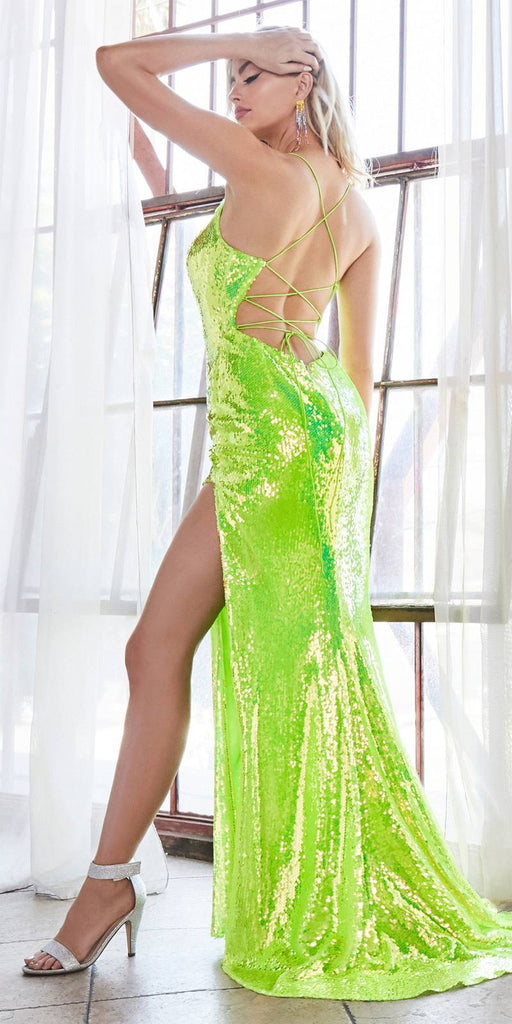 Cinderella Divine CDS393 Long Fitted Sexy Sequin Gown Chartreuse Iridescent Finish Lace Up Back