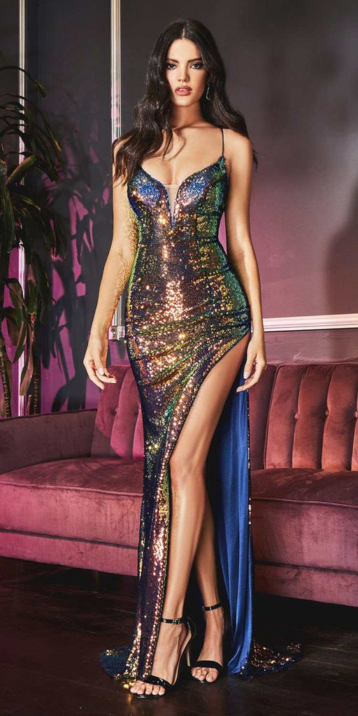 Cinderella Divine CDS393 Long Fitted Sexy Sequin Gown Firestone Iridescent Finish Lace Up Back