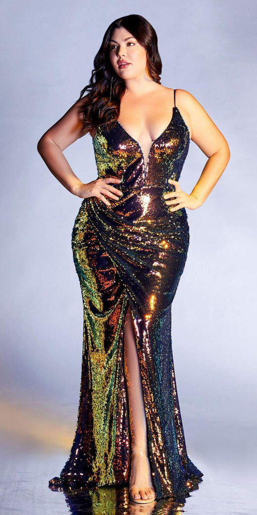 Cinderella Divine CDS393 Plus Size Long Fitted Sexy Sequin Gown Firestone Iridescent Finish Lace Up Back