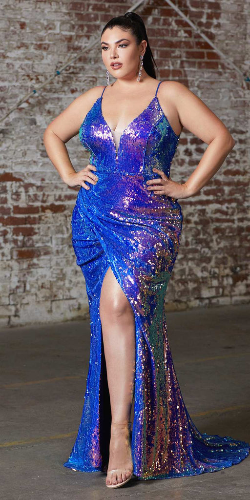 Cinderella Divine CDS393 Plus Size Long Fitted Sexy Sequin Gown Lapis Iridescent Finish Lace Up Back
