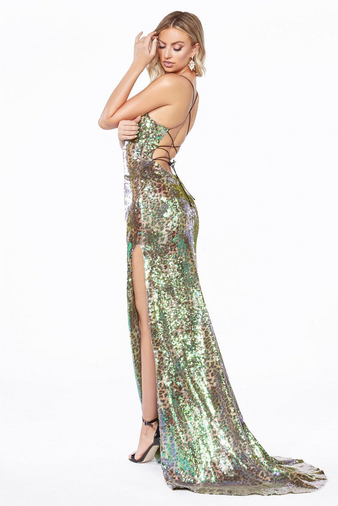 Cinderella Divine CDS394 Long Fitted Gown Leopard Print Multi-Color Iridescent Sequin Overlay