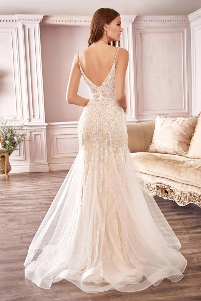 Cinderella Divine CDS401 Long Beaded Off White Hourglass Mermaid Wedding Dress V-Neck