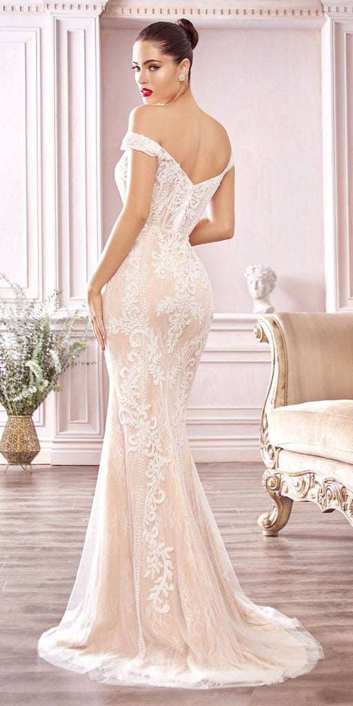 Cinderella Divine CDS402 Long Off The Shoulder Bridal Gown Off White/Nude Sheath Bateau Neck