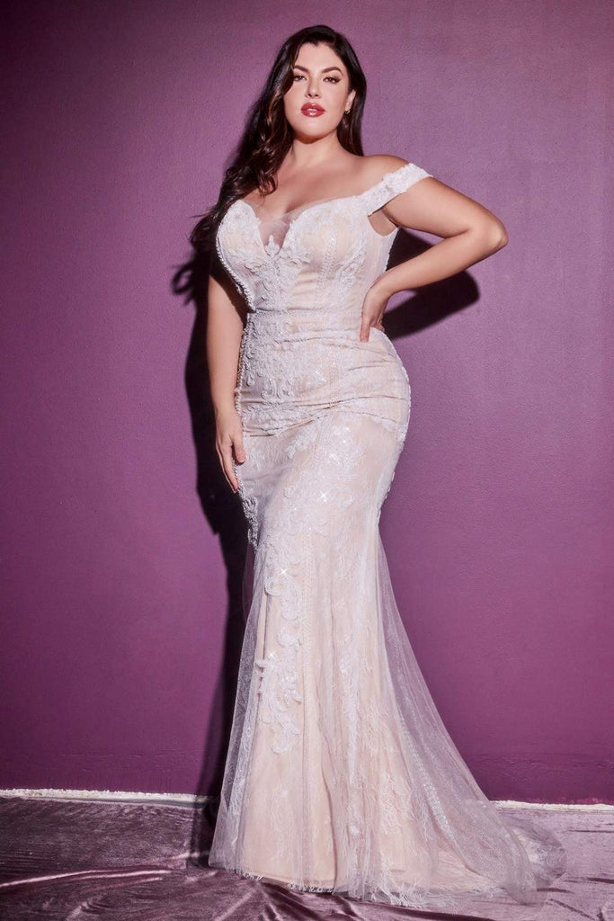 Cinderella Divine CDS402 Long Off The Shoulder Bridal Gown Off White/Nude Sheath Bateau Neck Plus