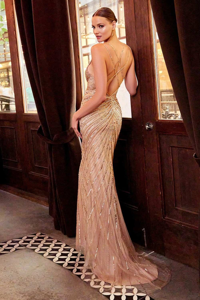 Cinderella Divine CDS405 Vintage Long Formal Evening Gold Column Beaded Gown
