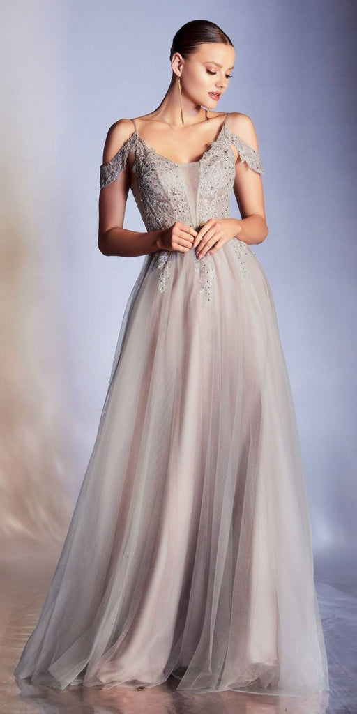Cinderella Divine CDS407 Floor Length Multi-Color Layered Tulle Gown Cold Shoulder Applique