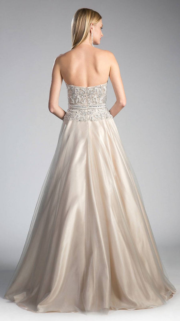 Light Silver Bead Embellished Prom Gown Strapless