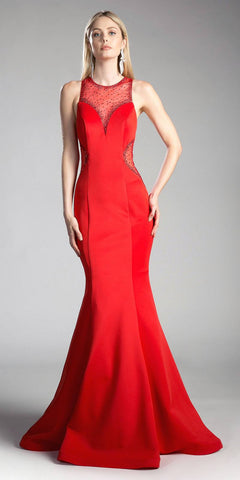 Red Cut-Out Back Mermaid Long Prom Dress