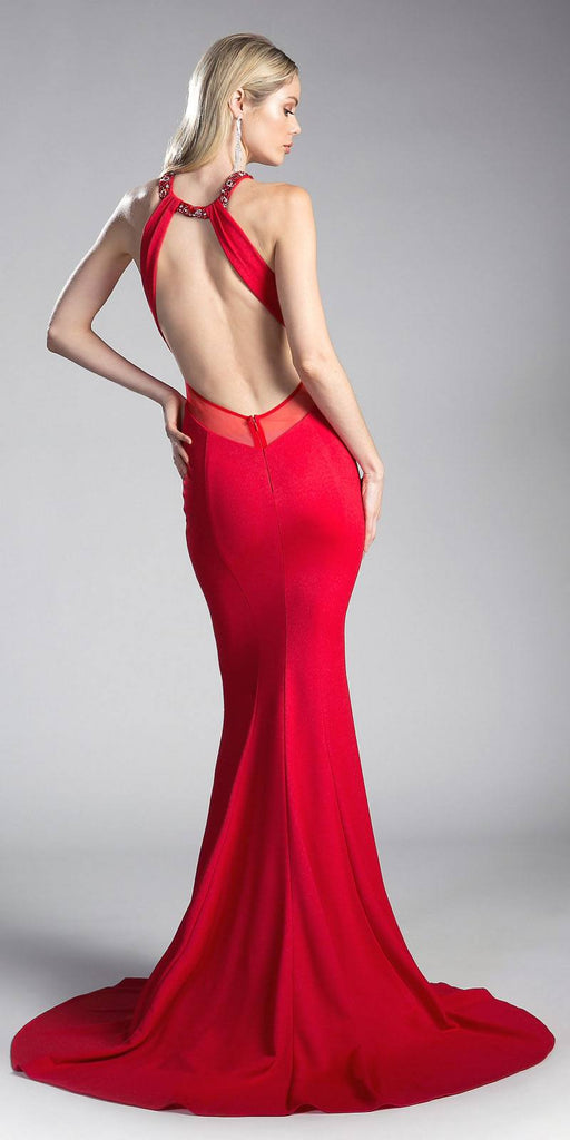 Sheer Cut-Outs Open Back Mermaid Prom Gown Red