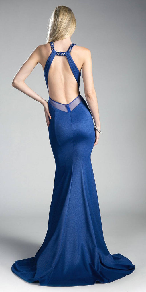 Sheer Cut-Outs Open Back Mermaid Prom Gown Royal Blue