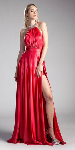 Red Beaded Neck Long Prom Gown Cut Out Back