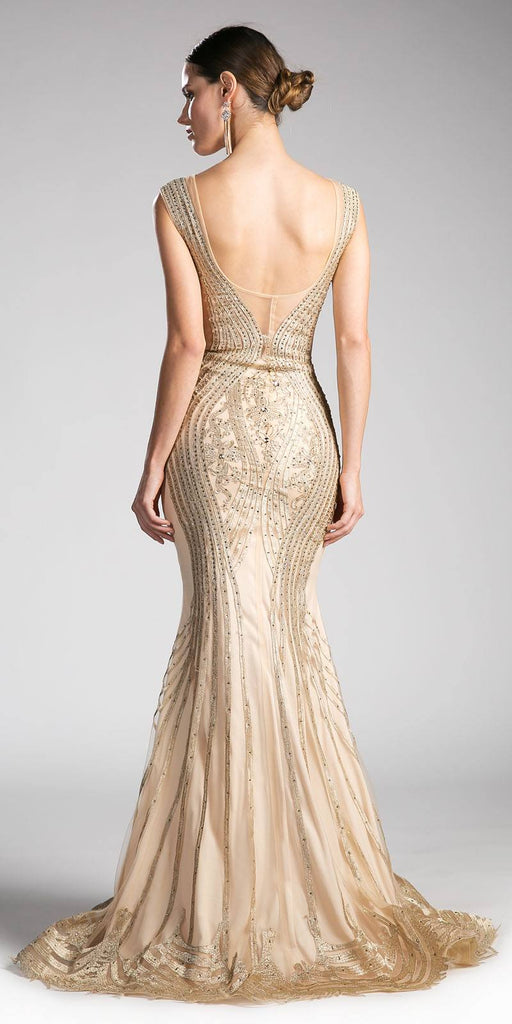 Cinderella Divine CE0010 Sleeveless Illusion Mermaid Prom Gown Gold Back View