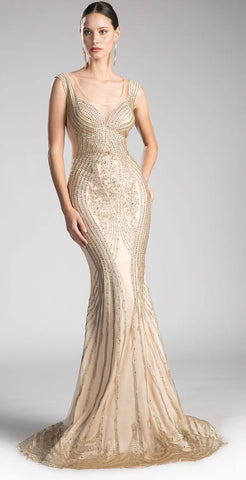 Beaded Lace Layered Tulle Mermaid Gown Gold Floor Length