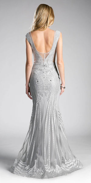 Cinderella Divine CE0010 Sleeveless Illusion Mermaid Prom Gown Silver Back View