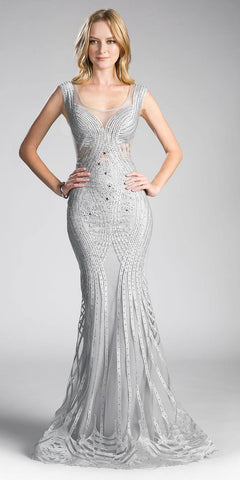 Cinderella Divine CE0010 Sleeveless Illusion Mermaid Prom Gown Silver