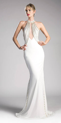 Halter Studded Mermaid Prom Gown Open Back Off White
