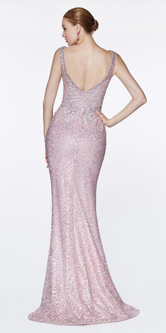 Cinderella Divine CE0017 Fitted Beaded Lace Gown Mauve Long Deep V-Neckline
