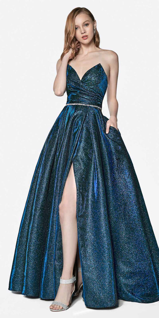Cinderella Divine CE0018 Floor Length Strapless Glitter Gown Dark Royal Pointed Sweetheart Neckline Leg Slit